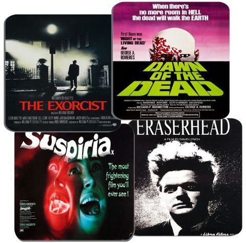 Classic 1970s Horror Movie Poster Coasters Set Of 4. High Quality Cork Film Gift
